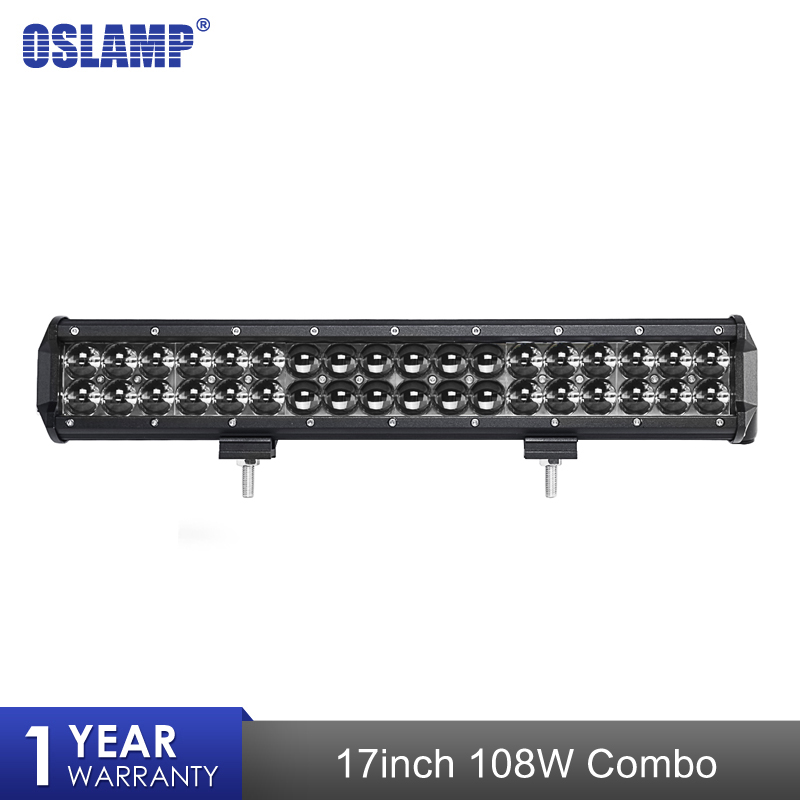 Oslamp Car 4D 17 108W Work Light Combo Beam Straight LED Bar Light for Motorcycle Tractor Boat Off Road 4WD 4x4 Truck SUV ATV sufemotec 5d 14 22 32 42 52 500w led light bar straight combo beam driving lamps for off road truck 4x4 4wd suv atv