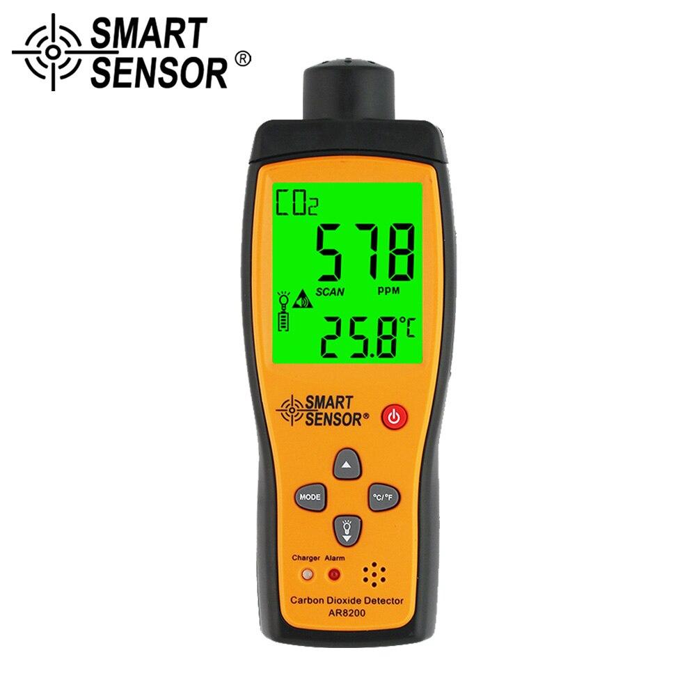 SMART SENSOR Analizzatore di Gas CO2 Meter Monitor Gas Detector Palmare Rivelatore di Biossido di Carbonio CO2 Tester di campo di Misura 350 ~ 9999PPM