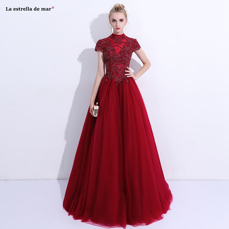 Vestido de fiesta para boda2019 new tulle high neck crystal short sleeve back A line burgundy   bridesmaid     dresses   long wedding
