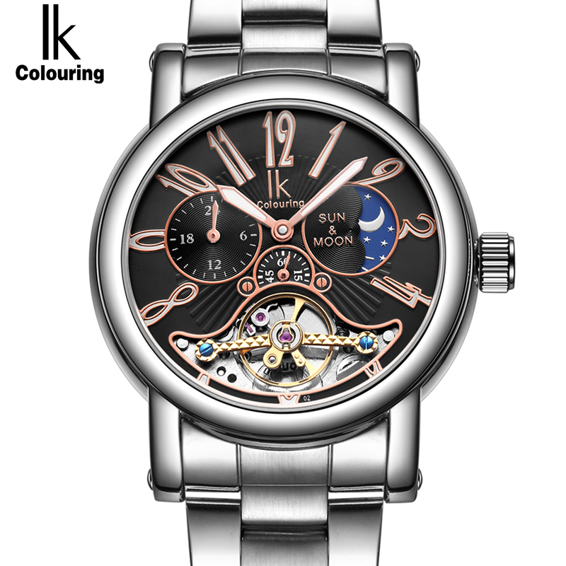 IK colouring Stainless Steel Luminous Automatic Mechanical Men's watch Moon Phase Brand Luxury Hollow Skeleton Military clock ik colouring men automatic self wind mechanical watches full steel moon phase fashion casual digital sports watch