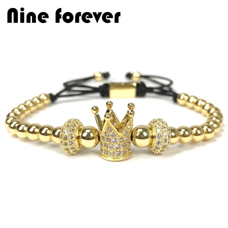 Nove per sempre crown charms Braccialetto uomini gioielli Treccia Macrame perle Bracciali per le donne pulseira masculina feminina di natale