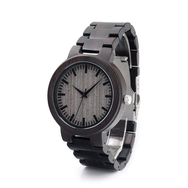 Bobo bird madera c30 hombres japón miyota 2035 movimiento reloj de los hombres relojes de pulsera caja de regalo de madera de madera de ébano natural completo relogio