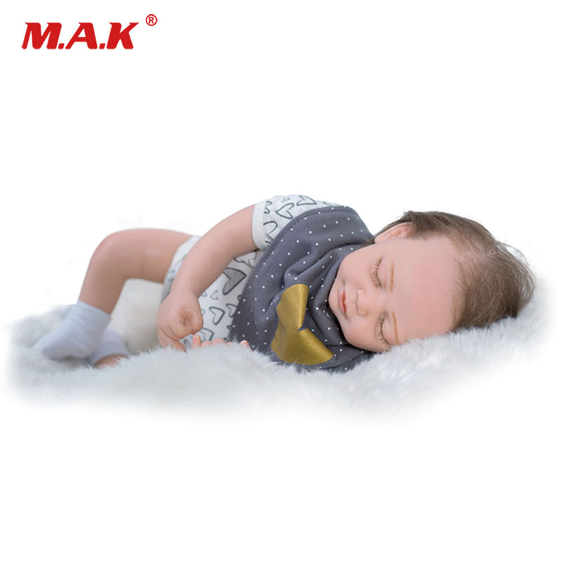 18'' 48cm Full Silicone Bebe Reborn Baby Dolls Accompany Sleep Real Cute Lifelike Silicone Newborn Doll Toy Gift Kids Playmate