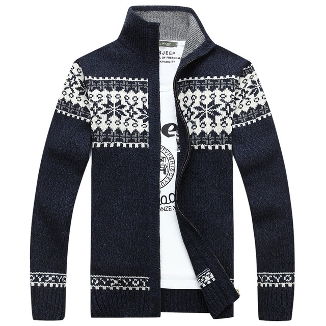 2018 new christmas sweater men winter pullover snowflake pattern sweater mens casual cardigan thickening wool jacket - Christmas Jacket