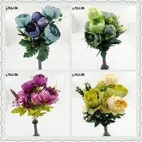 1 букет 6 Главы Искусственные цветы Букеты дешевые Пион Шелковый цветок Leaf дома Свадебная вечеринка Декор Свадебные цветы букет невесты
