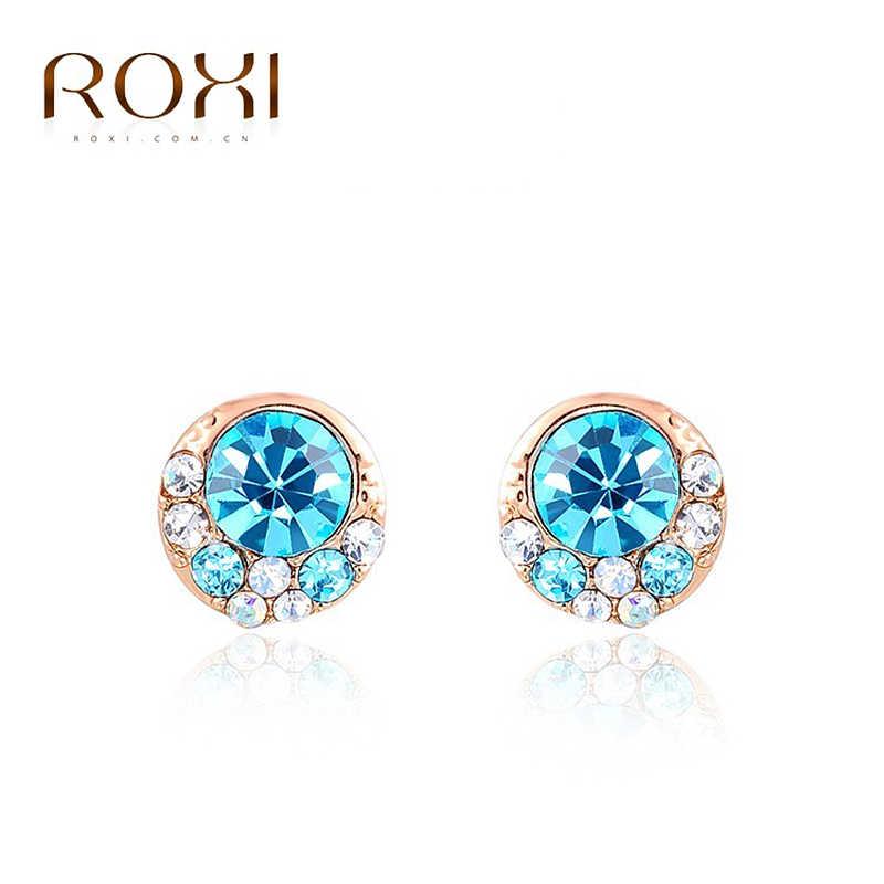 8763c2503 2018 ROXI Stud Earrings Rose Gold Crystal Wedding Earrings Fashion Jewelry  Pendientes Mujer Moda Women Earrings