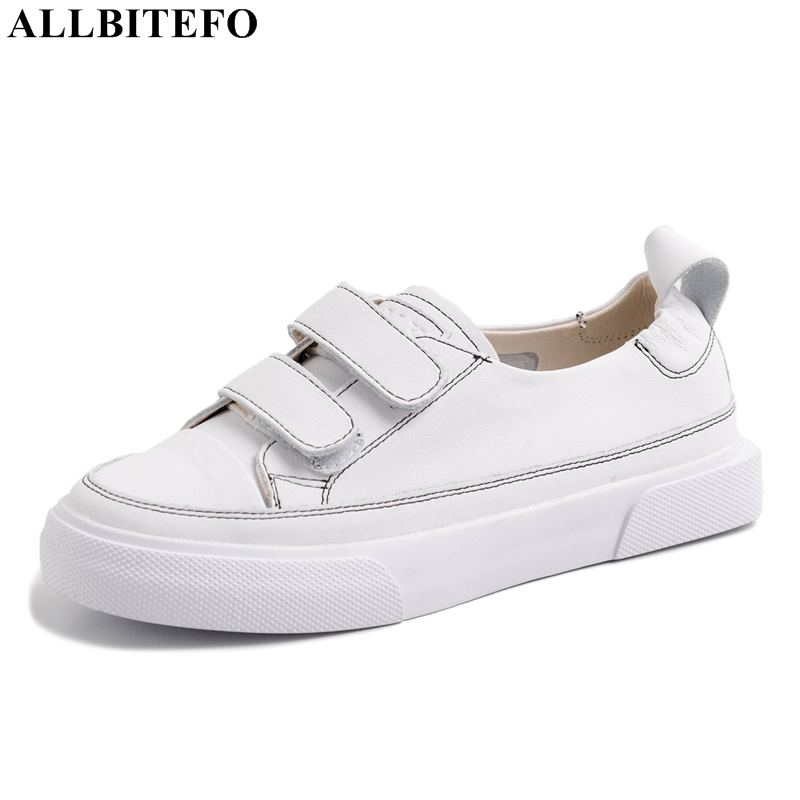 ALLBITEFO high quality full genuine leather casual women shoes women flats sneakers shoes office ladies shoes