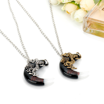 The Ghouls MoJin Amulet Necklace for Men Punk Jewelry Dragon Stone Pendants Necklaces Steampunk Jewelry Charms Collier image