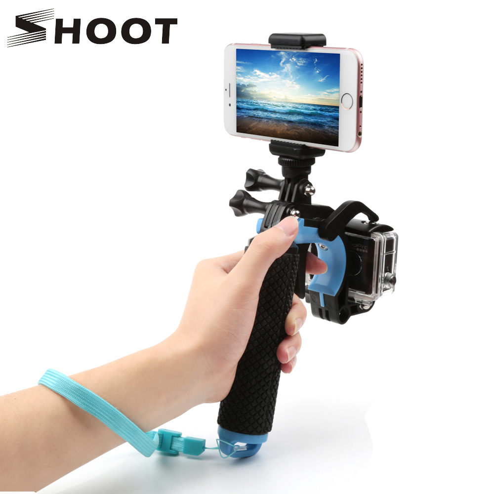 SHOOT Float Pistol Trigger Set Hand Grip for GoPro Hero 6 5 7 4 Sjcam Yi 4K h9 Camera with Phone Clip Tripod Bobber Go Pro Mount купить в Москве 2019