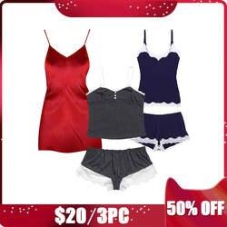 CINOON 3 шт. Женская шелковая ночная рубашка и хлопковые пижамы наборы без рукавов топы и шорты с v-образным вырезом Женская одежда для сна