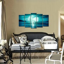 Modular Prints Pictures Wall Art 5 Pieces Full Moon Hanging On The Dark Blue Sky Canvas Painting Home Decor Living Room Poster