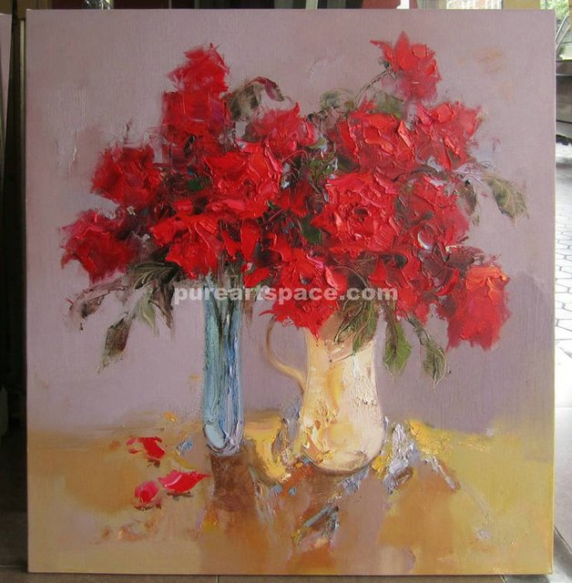 Handmade Original Abstract Red Roses Flowers In Vases Paintings