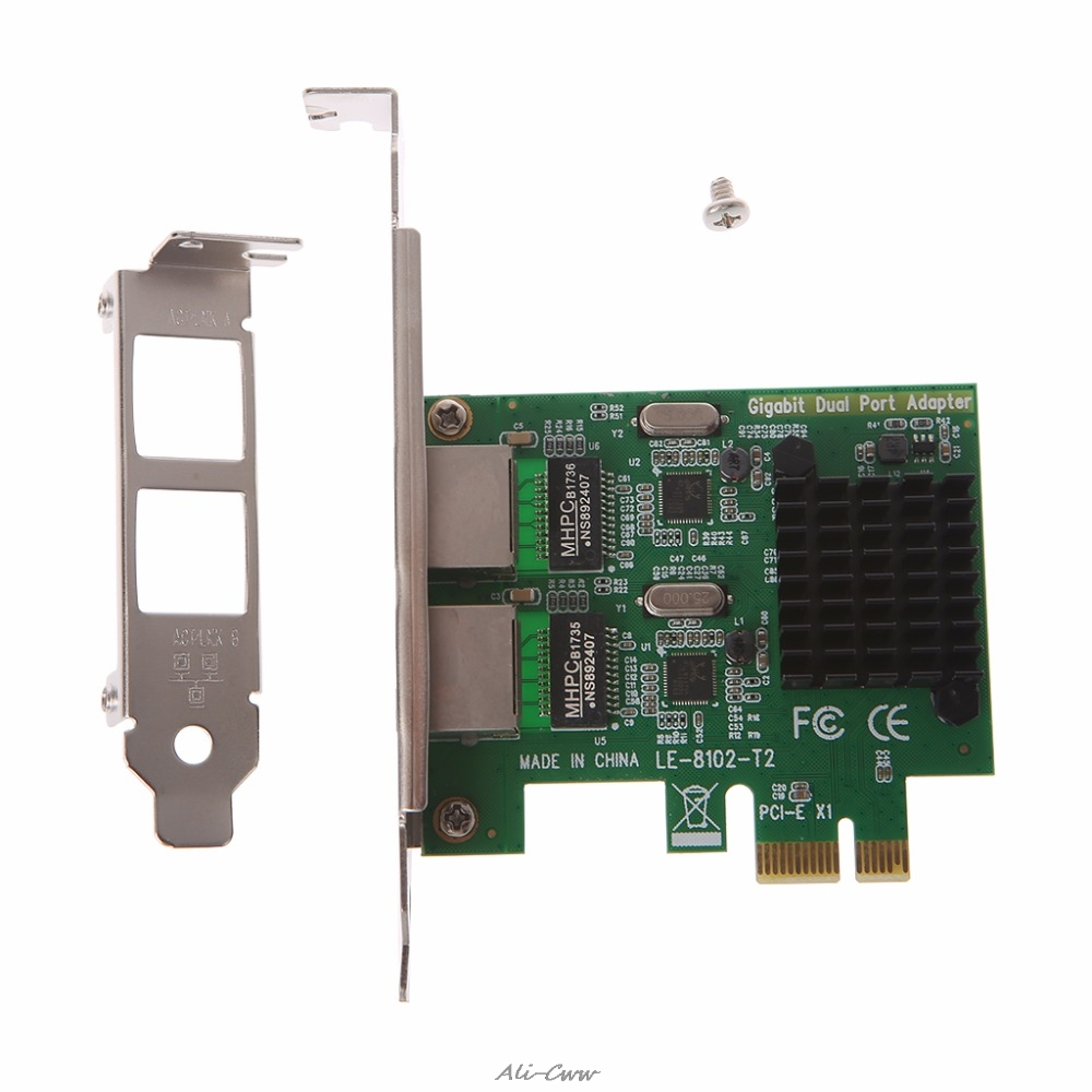 Dual Port PCI Express PCI E X1 Gigabit Ethernet Network Card 10/100/1000Mbps Rate LAN Adapter High Quality-in Network Cards from Computer & Office
