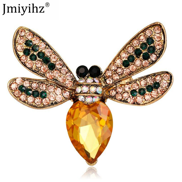 Jmiyihz 3 Pcs Fashion Women Beautiful Bee Brooch Jewelry Rhinestone Drip  Oil Enamel Alloy Metal Brooches 833f171b792b