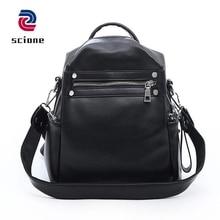 Купить с кэшбэком New Soft Leather Women Backpack Multi-function Shoulder Bag School Bag For Teenage Girls Female Solid Casual Travel Bags mochila