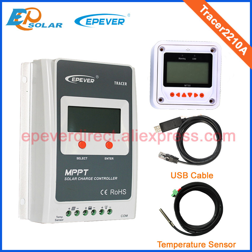20A Tracer2210A MPPT Solar battery charger with the white MT50 temperature sensor and USB 12v 24v auto type Max Pv Input 100v 10a tracer1210an mppt solar battery charger with mt50 wifi and temperature sensor 12v 24v auto type max pv input 100v