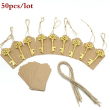 50pcs/lot Classic Creative Wedding Favors Party Back Gifts for Guests Gold Antique Copper Skeleton Key Beer Bottle Opener