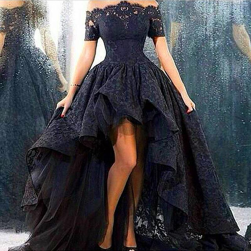 Elegant Boat Neck Corset Ball Gown High Low Long Black Beaded Lace Prom Dresses 2018 Zipper Up Court Train Robe De Soiree