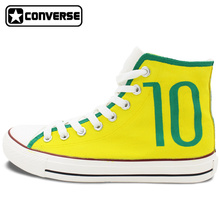 Converse All Star Hand Painted Shoes Brazilian Football Number 10 Soccer High Top Canvas Sneakers Men Women Unique Gifts