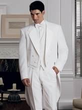 a0be478a74 2017 New Arrival Klasyczny Biały Mężczyzna Frak Ścięty Lapel Garnitury  Ślubne dla Mężczyzn Mężczyzn Luzacy Garnitury
