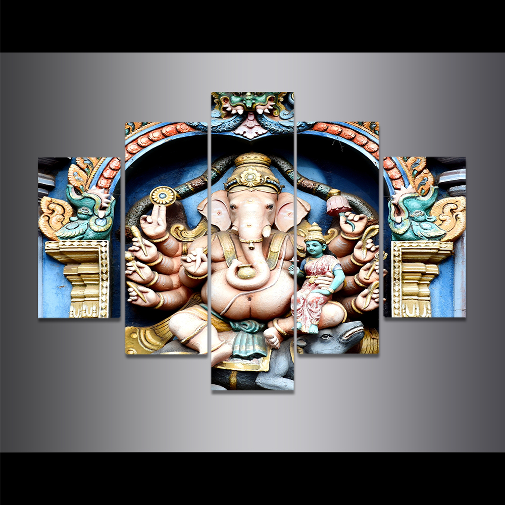 Unframed Canvas Painting Modern Ganesh Elephant Trunk Indian God Picture Prints Wall Picture For Living Room Wall Art Decoration