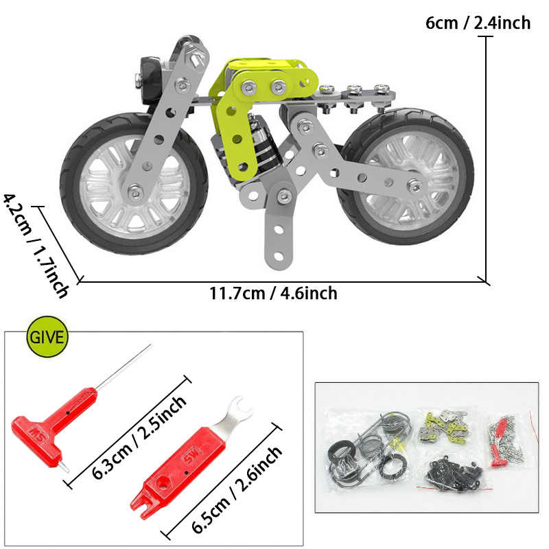 120pcs Stainless Steel DIY 3D Puzzle Toys Assembly Motorcycle Model Building Kits Metal Toy Vehicles Screw Nut Educational Gift