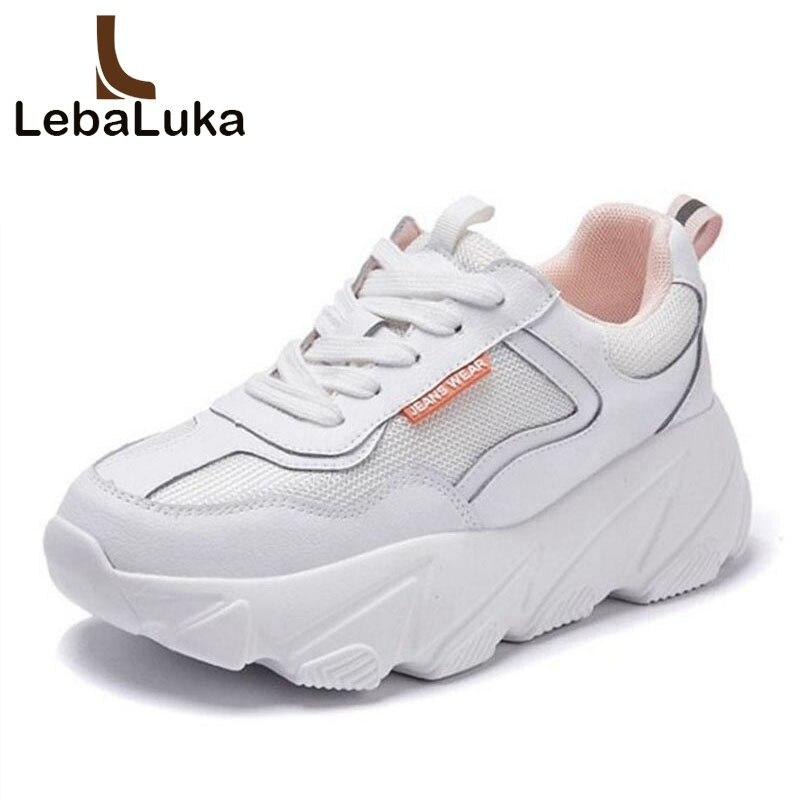 LebaLuka Basket Femme baskets en cuir véritable femmes chaussures vulcanisées fond épais plate-forme maille femmes chaussures de loisirs taille 35-39