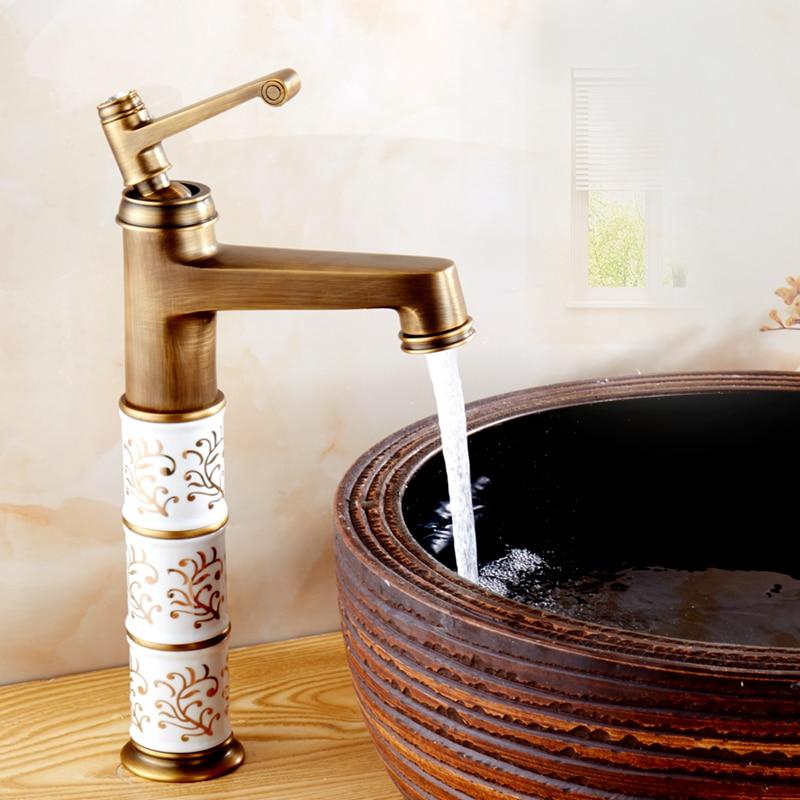 ФОТО Luxurious Ceramics Design Antique Brass Finish Bathroom Basin Faucet, Classic Toilet Sink Faucet Tap /robinet de lavabo TP1095