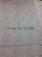 High Quality Glued Glitter Lace Fabric White Color Embroidered Sequin Fabric Sewing Wedding Party Dress Fabric