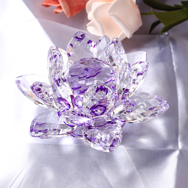 Us 7 88 25 Off 85mm Purple Crystal Lotus Flower Paperweight Glass Crafts Festive Party Supplies Wedding Decoration In Figurines Miniatures From