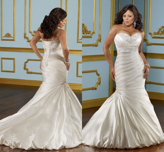High Quality White Satin Mermaid Dress Asymmetrical Full Length Ruched Corset Embrory Plus Size Wedding Dresses