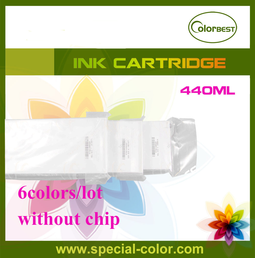 [large format printer parts] 6Colors/set 440ml Roland Color Printer 440ml Ink Cartridge without Chip roland printer solvent ink cartridge tank with chip 440ml color lc