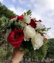 レッドリアルタッチの花ローズブーケ結婚式の牡丹ブライダルブーケ結婚式の装飾