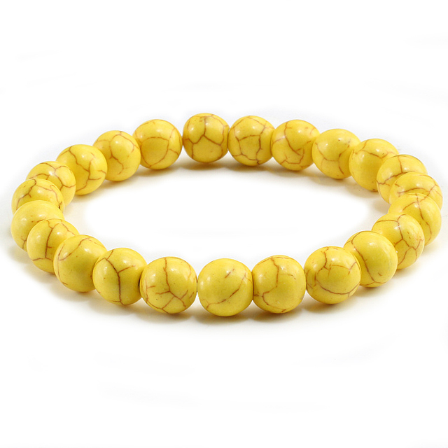 Trendy Yellow Natural Stone Beads Charm Bracelets & Bangles for Women Round Bead