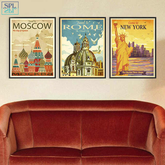 SPLSPL Retro New York Rom Ornamentik Moskau City Kunstdrucke Poster Chic Wand Bild Leinwand Ölgemälde Home Decor