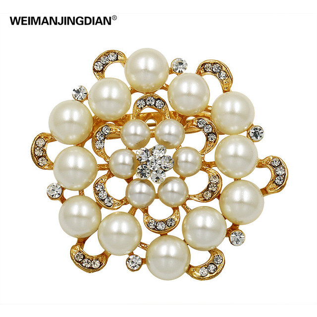 High Quality Bunch Imitation Pearls and Crystal Rhinestones Wedding Brooches & Pins for Women