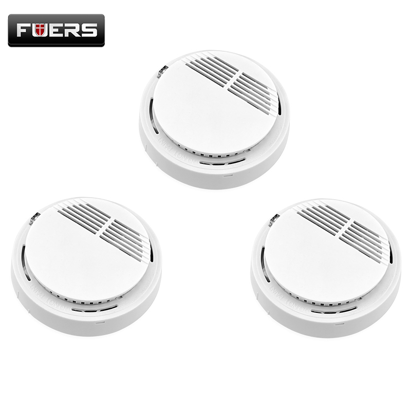 Fuers 433mhz Home security system Cordless Wireless Smoke Detector Fire Alarm (without battery) 3pcs/lot