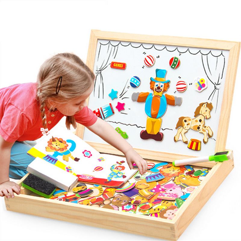100 PCS Wooden Magnetic Puzzle Figure Animals Vehicle Circus Drawing Board 5 styles Box Educational Toy
