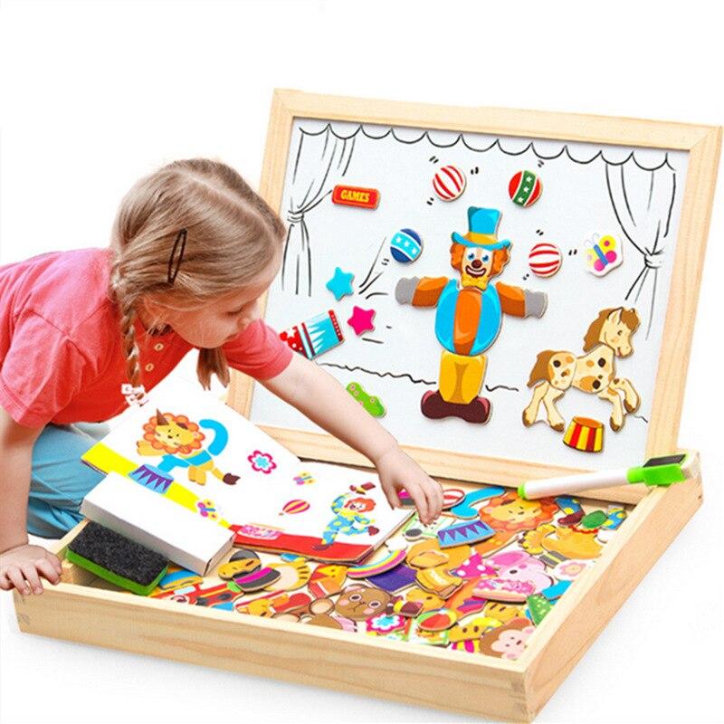 100 + piezas de madera de rompecabezas magnético figura/animales/vehículo/circo tablero de dibujo 5 estilos de caja de juguete educativo regalo