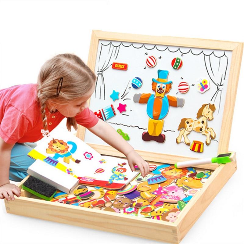 100 + piezas rompecabezas magnético de madera figura/animales/vehículo/tablero de dibujo de circo 5 estilos caja juguete educativo regalo