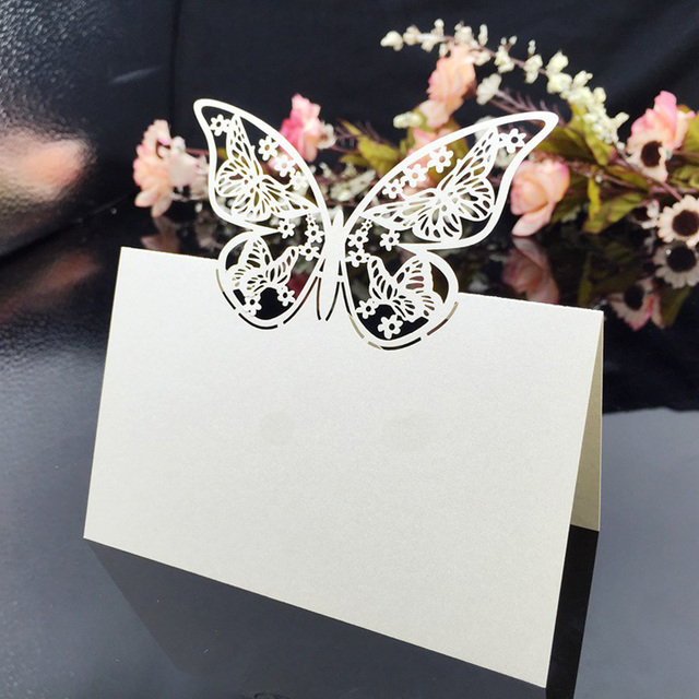 CDP009 Laser Cut Place Card Customized Hollow Butterfly Wholesale Wedding Decorations Party Supplies Cards Free