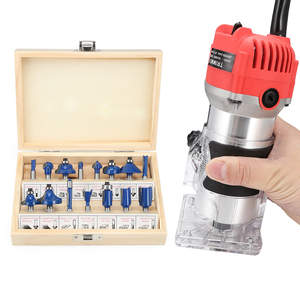 Wood-Router Trimmer Power-Tools-Set Milling-Cutter Slotting for 1/4 15pcs