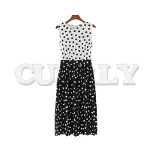 CUERLY women polka dots sleeveless midi dress back zipper O neck female casual pleated dresses sweet summer chic vestidos 2019