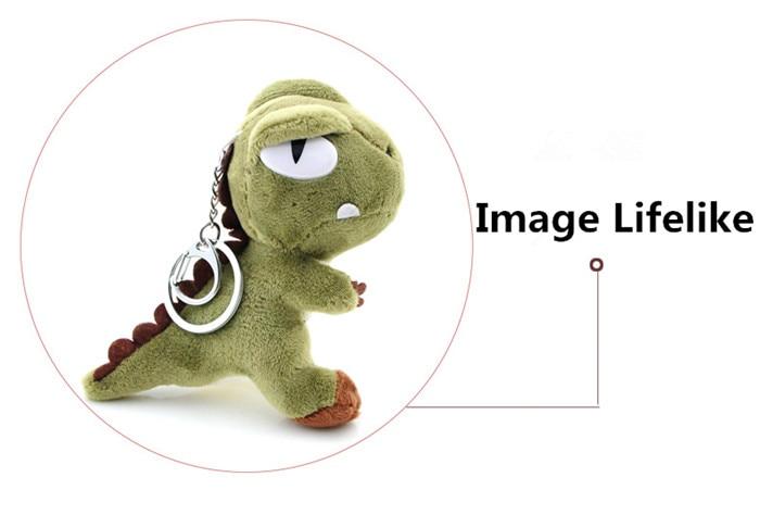 Cute Small Tyrannosaurus Plush Doll Key Ring Silver Chain Woman Bag Charms Pom Pom Dinosaur Toy Keychain Man Trinket Party Gift (15)