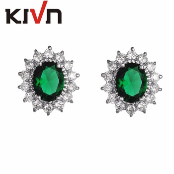 KIVN Jewelry Blue CZ Cubic Zirconia Womens Girls Princess Diana Wedding Bridal Stud Earrings Birthday Gifts 10pcs Lot Wholesale