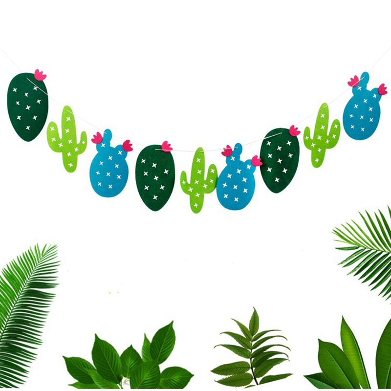 9 Pcs/set Non-woven Fabric Cactus Garland Banner Flag Bunting Party Favors Home Decoration Birthday Kid Baby Shower Supplies