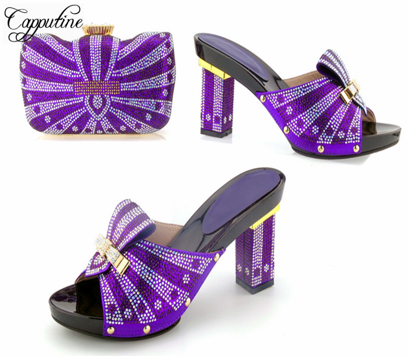 Capputine New Summer Beautiful Crystal High Heels With Bag Set Italian Style Woman Purple Slipper Shoes And Bag Set For Party