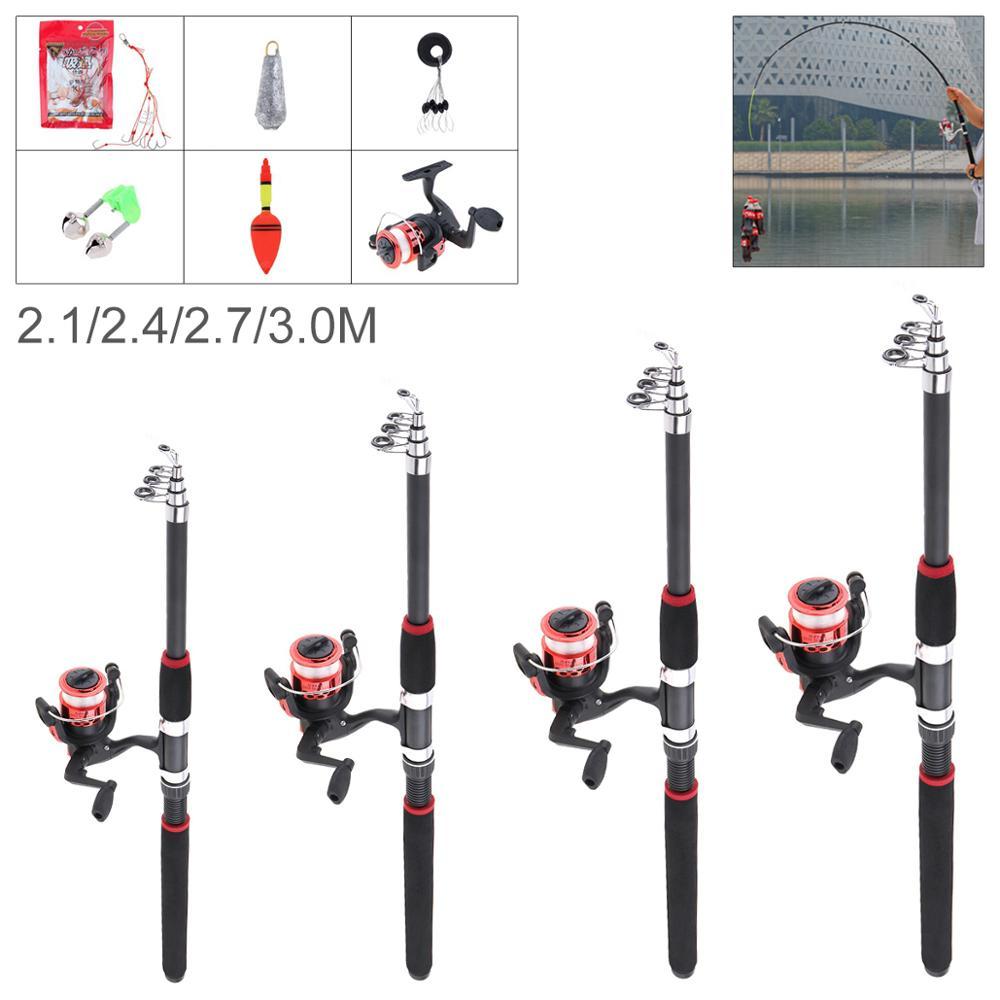 2.1m 2.4m 2.7m 3m Fishing Rod Reel Line Combo Full Kits Spinning Reel Pole Set With Carp Fishing Lures Fishing Float Hooks Beads