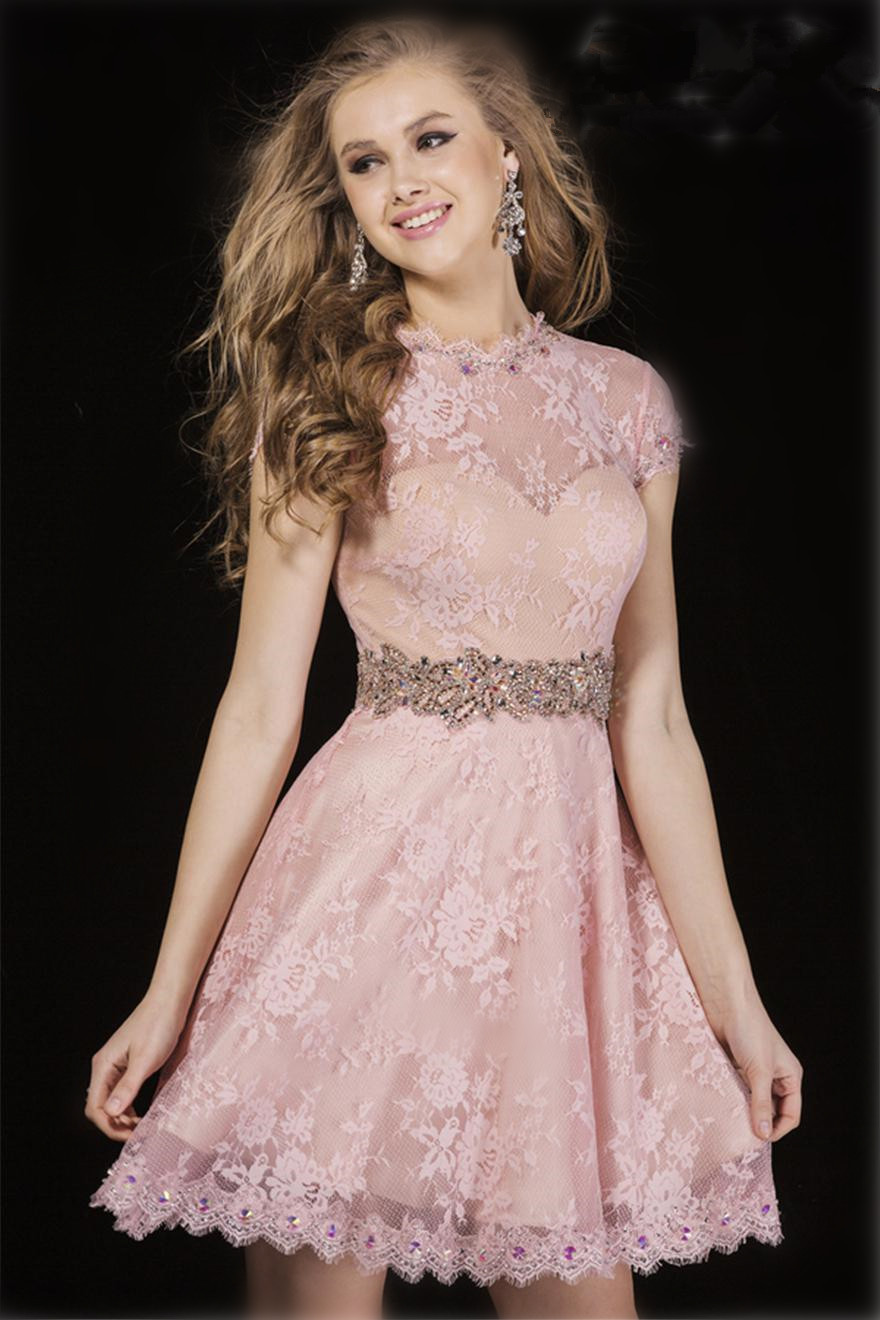 Decent Cocktail Dressesfrom 2015 Summer Lace Cocktail Dress Sheer Bead 2015 Summer Lace Cocktail Dress Sheer Bead Rhinestonecrystal Sash Lace Mini Homecoming Dresses