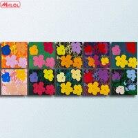 Andy Warhol 10 sztuk kwiaty Wall Art Drukuje Obraz Olejny Malarstwo Na Płótnie Bez Ramki Zdjęcia Living Room PREZENT krajobraz